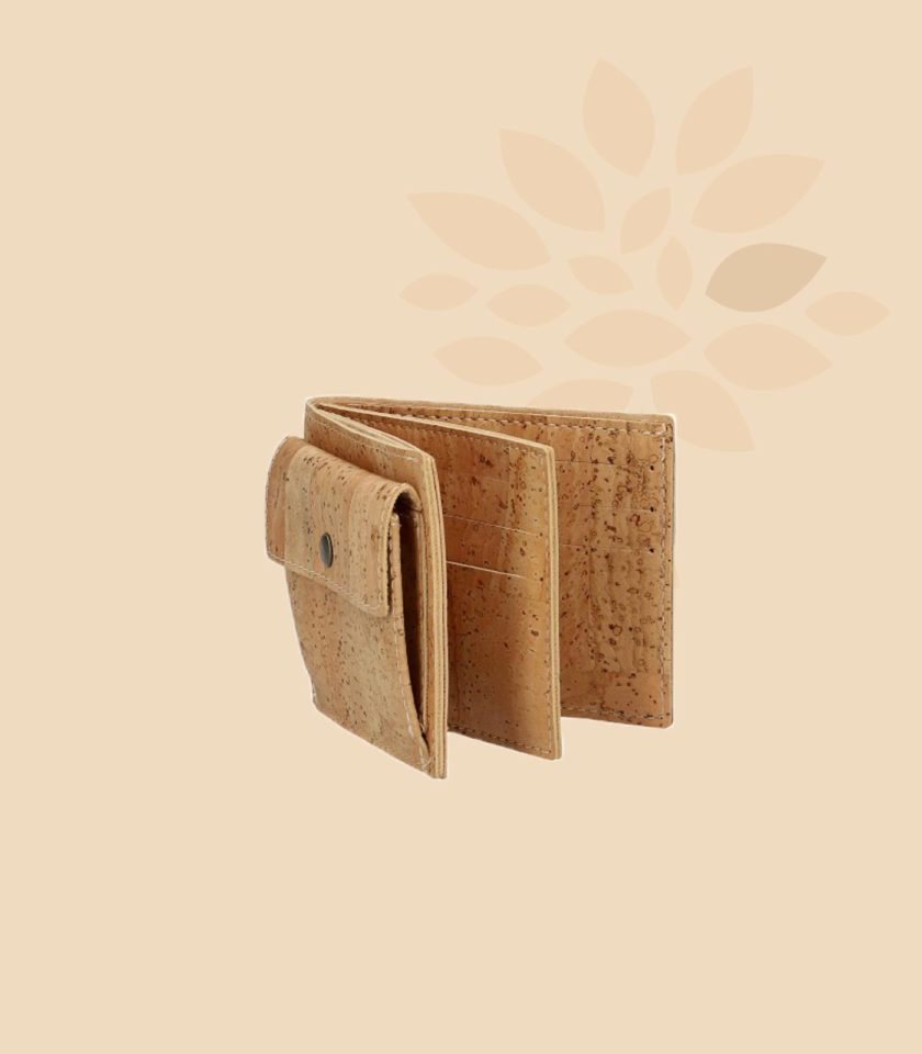 Portefeuille en liège Brahma liège naturel vue trois quarts