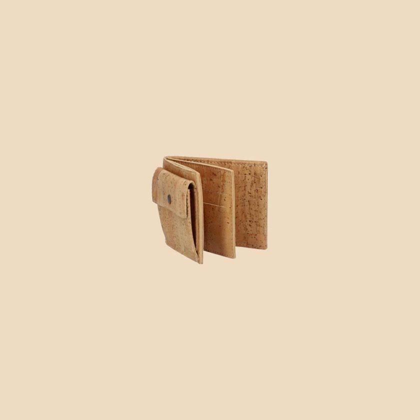 Portefeuille en liège modèle Brahma vue ouvert couleur naturel