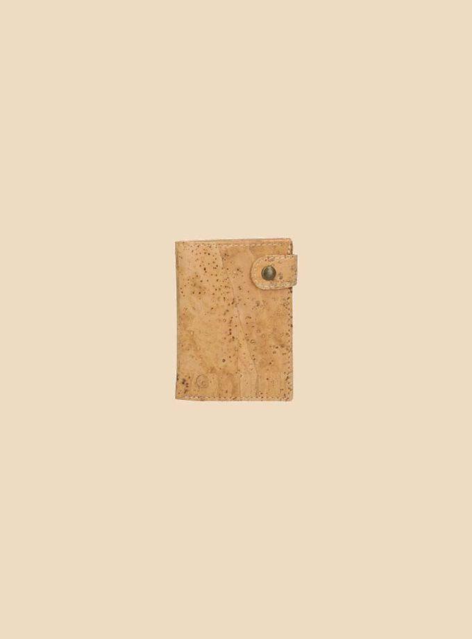 Portefeuille en liège modèle Dryade vue face couleur naturel