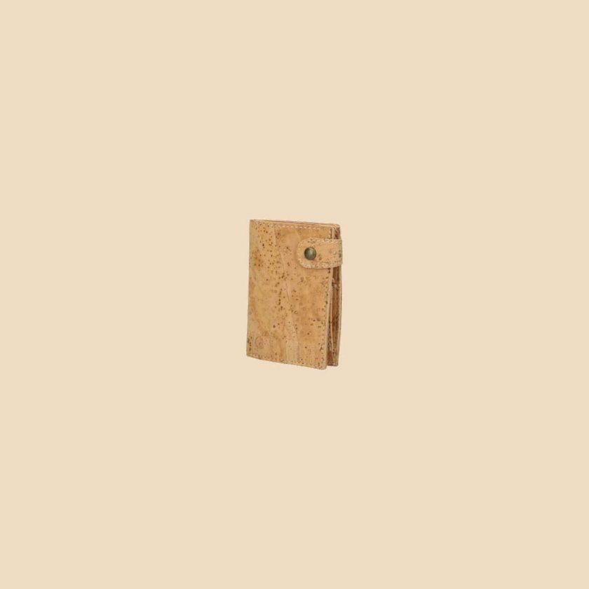Portefeuille en liège modèle Dryade vue trois quarts couleur naturel