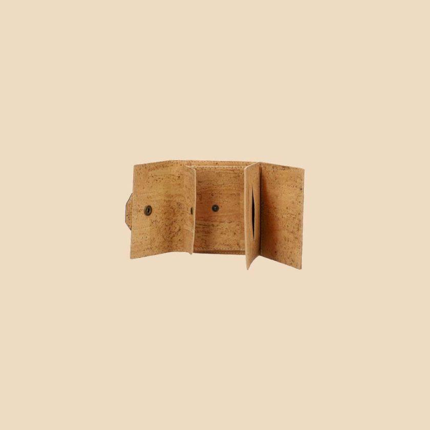 Portefeuille en liège modèle Gaïa vue ouvert face couleur rouge