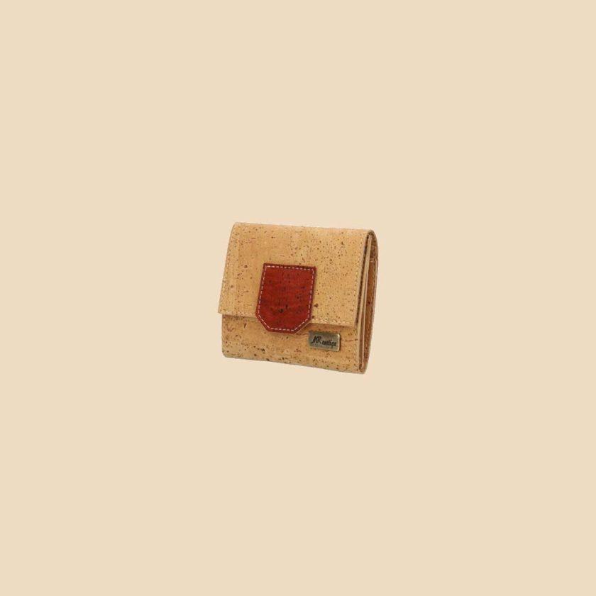 Portefeuille en liège modèle Gaïa vue trois quarts couleur rouge