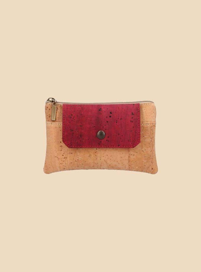Portefeuille en liège modèle Dokkaebi vue face couleur rouge
