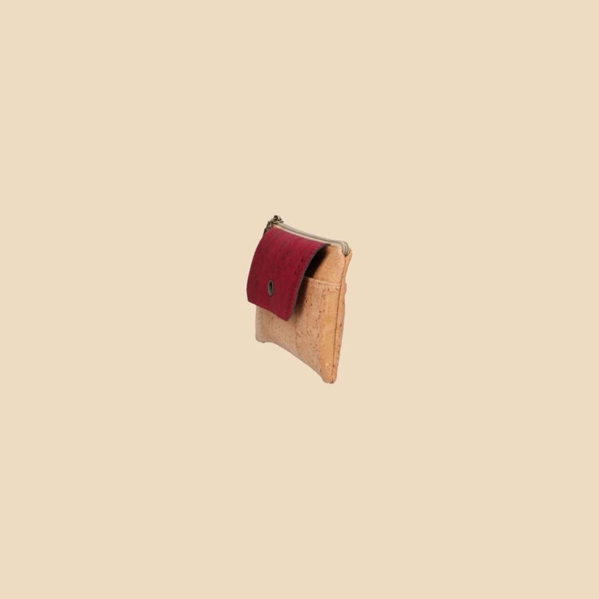 Portefeuille en liège modèle Dokkaebi vue profil couleur rouge
