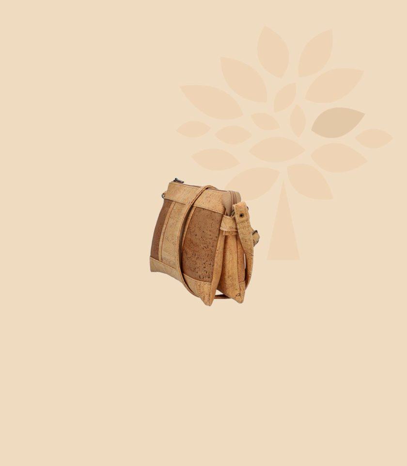Sac bandoulière en liège Galatée vue de trois quart couleur marron