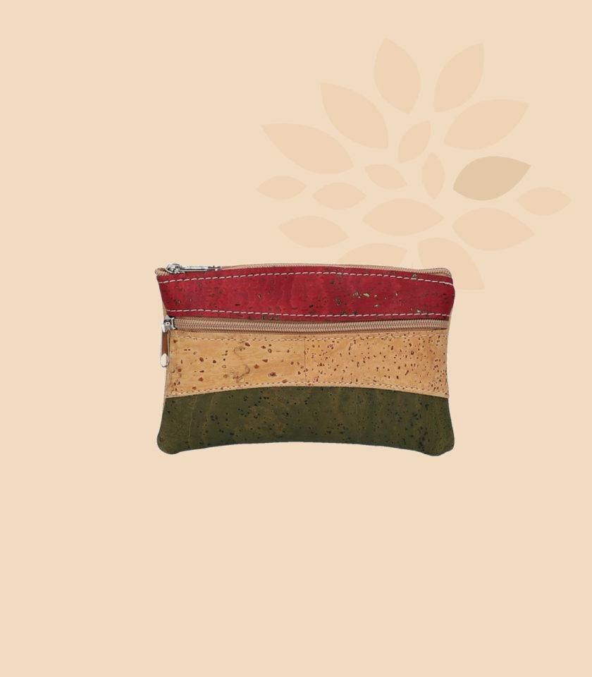 Porte monnaie en liège modèle Ilona vue de face couleur rouge beige vert