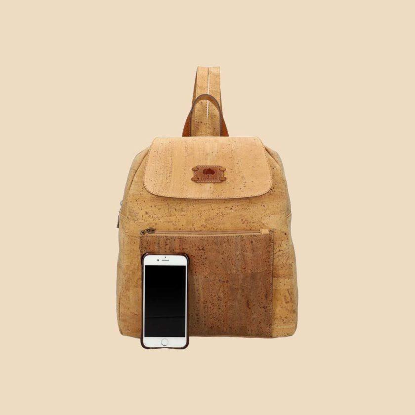 Sac à dos en liège modèle Harmonia vue téléphone couleur naturel