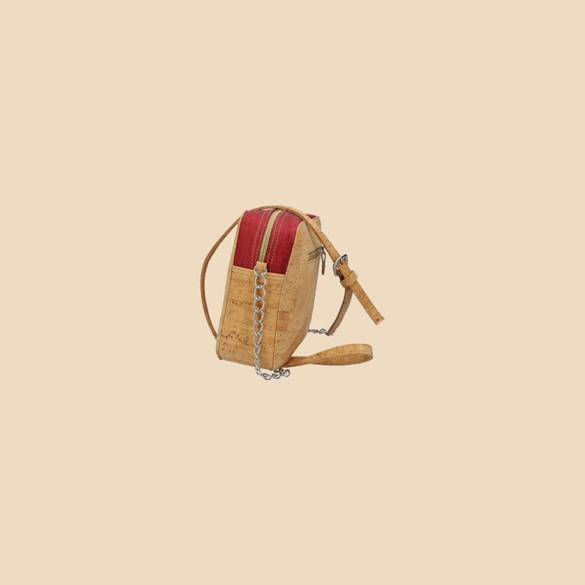 Sac bandoulière en liège modèle Concordia vue profil couleur rouge