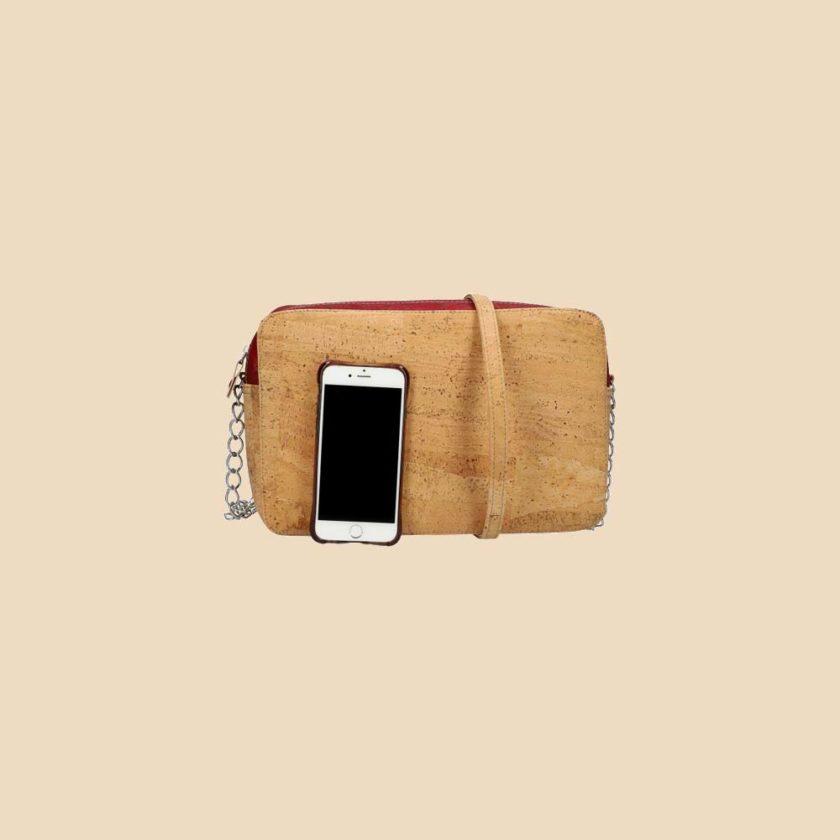 Sac bandoulière en liège modèle Concordia vue téléphone couleur rouge