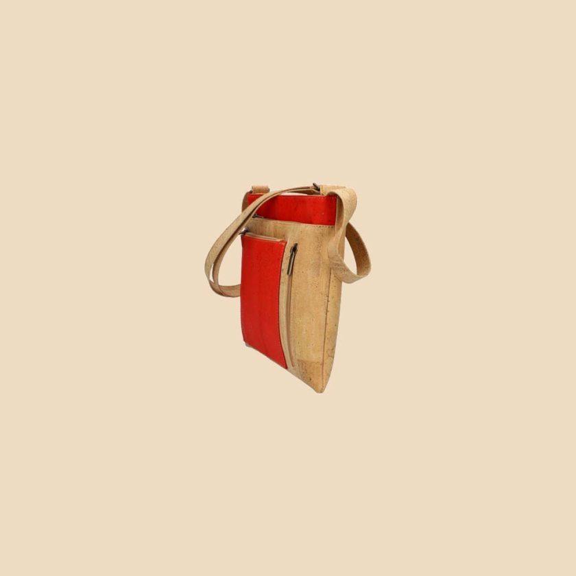 Sac bandoulière en liège modèle Médée vue profil couleur orange