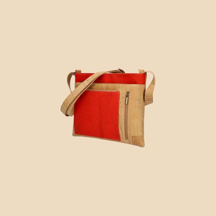 Sac bandoulière en liège modèle Médée vue trois quarts couleur orange
