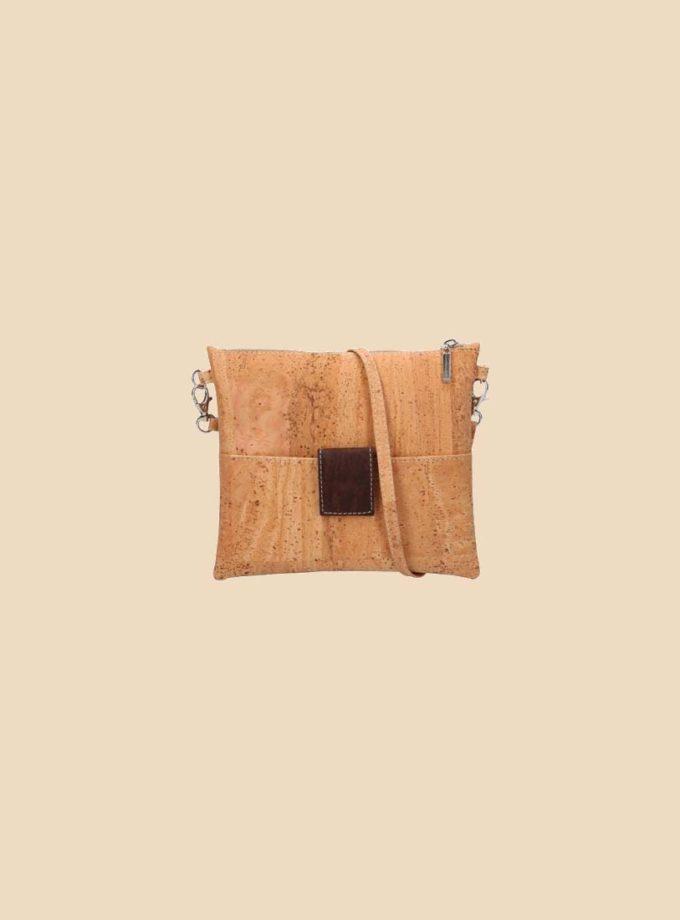 Sac bandoulière en liège modèle Mondriaan vue face couleur marron