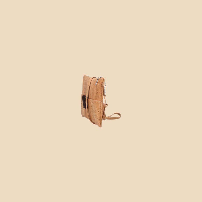 Sac bandoulière en liège modèle Mondriaan vue profil couleur marron