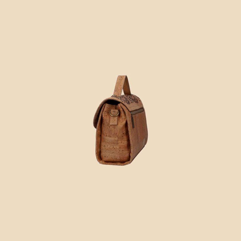 Sac à main en liège modèle Oryn vue profil couleur marron