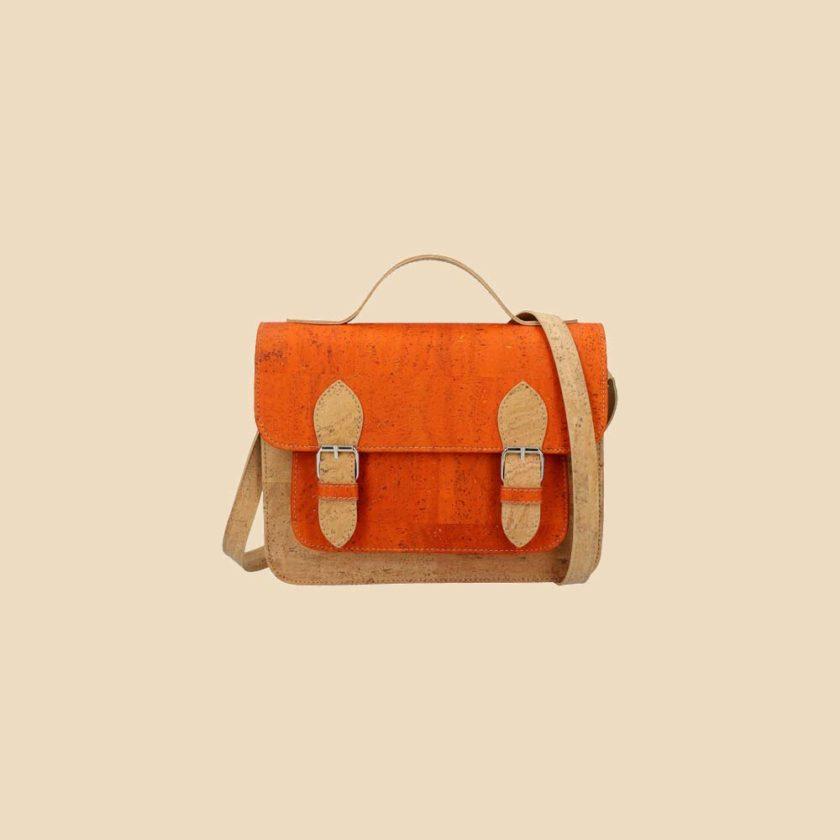 Sac bandoulière en liège modèle Pearl vue face couleur orange