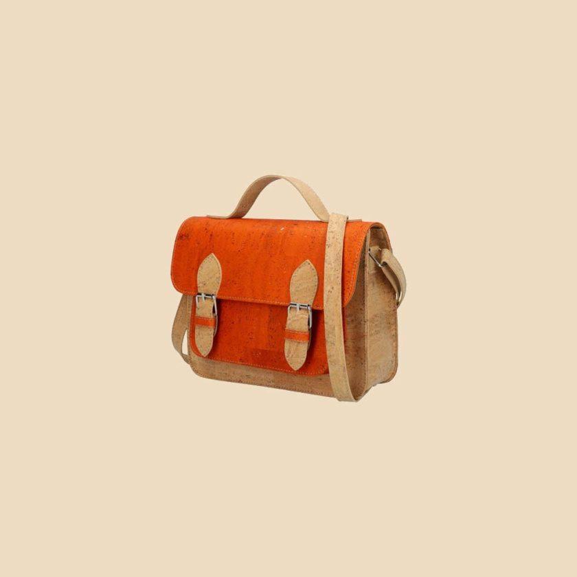 Sac bandoulière en liège modèle Pearl vue trois quarts couleur orange